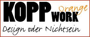 Das Logo unseres Sponsors KoppWork Orange und Lass-es-drucken.de