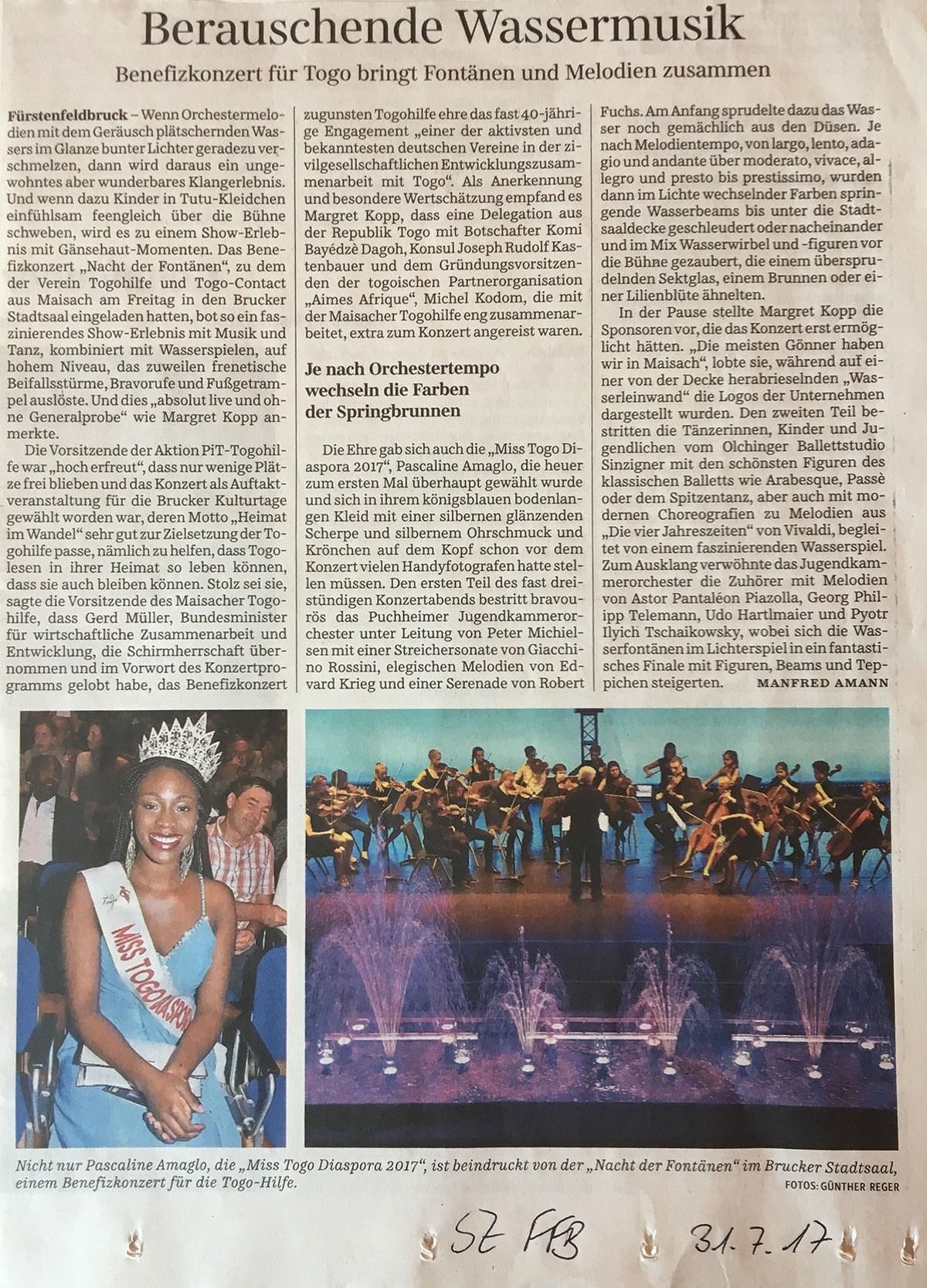 Pressebericht über die Nacht der Fontänen in der Süddeutschen Zeitung
