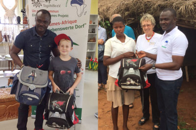 Ben hat seine Schultasche gespendet, inzwischen ist sie in Togo angekommen