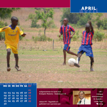 Das April-Blatt des Togo-Kalenders 2018