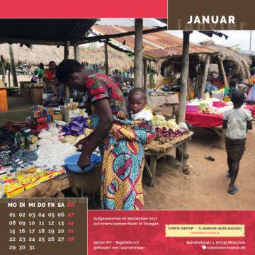 Das Januar-Blatt des Togo-Kalenders 2018