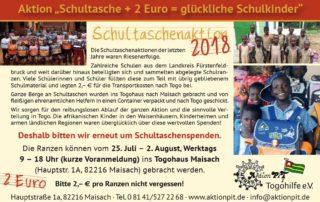 Flyer - Schultaschenaktion 2018