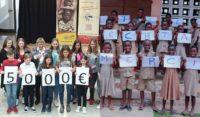 Links die Kinder aus Viechtach, rechts die Kinder in Togo