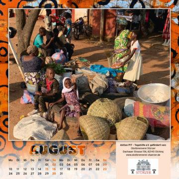 Togo-Kalender 2020, das Augustblatt